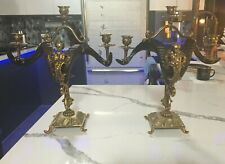ANTIQUE GENUINE RAMS HORNS BRONZE FRENCH 19th CENTURY PAIR CANDELABRAS