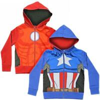 AVENGERS KIDS HOODIE HOODY IRON MAN CAPTAIN AMERICA OFFICIAL DRESS UP