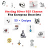 Genuine 925 Sterling Silver Charm Gift Bead Selection Fits European Bracelet UK