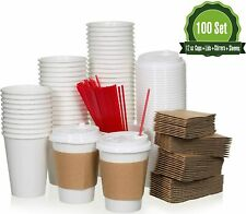 12oz 100 Set Disposable White Paper Coffee Cups With Lids Sleeves And Stirrer