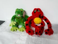 Lot of 2 frogs Shalom Toys / tag & Fiesta red spotted frog Stuffed Animal
