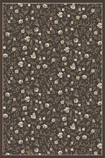 """5x5 Radici Brown Bordered Leaves Vines Area Rug Round 6674 - Aprx 5' 3"""" x 5' 3"""""""