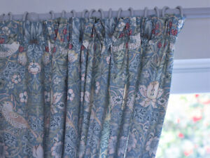 William Morris Strawberry Thief Fully Lined Curtains & Tie Backs In Slate