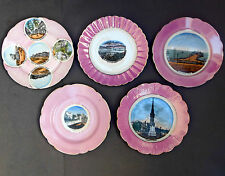 5 Antique Pink Lustre Souvenir View Ware PLATES ~ Victorian English Towns