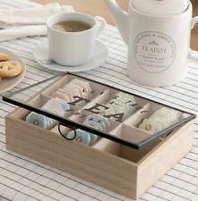 Caja organizador de infusiones madera(Té,menta poleo,etc) vidrio,metal,24x17x6cm