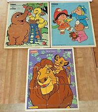 Vintage Set 3 Playskool Wood Frame Tray Puzzles Big Bird Cabbage Patch Lion King