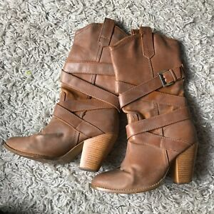 Tan Strappy Cowboy Style Boots Size 5