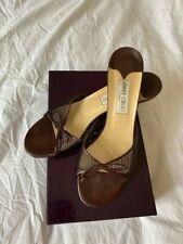 Jimmy Choo heels leather brown kitten heel mules 7 40