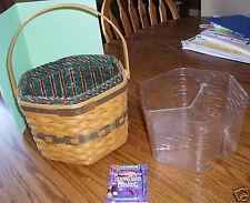 Longaberger Snowflake Combo Basket Divided Protector Stripe Liner 1997 Used