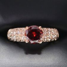 1.5 Ct Red Round Ruby CZ Paved Band Ring Wedding Engagement Jewelry Gift RX21