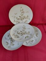 "MEITO CHINA  4 ROUND DINNER PLATES 10"" MADE IN JAPAN. FLOWERS WITH GOLD TRIM."