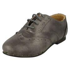 Chaussures habillées gris à lacets pour fille de 2 à 16 ans