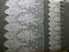 2 Antique Brussels Tulle Lace 19th Century Floral lengths; border edging