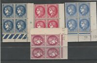 FRANCOBOLLI - 1938/39 FRANCIA TIPO CERERE 4 QUARTINE MNH/MLH E/1706