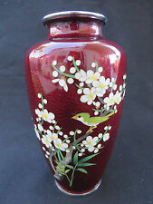 Vintage Japanese Cloisonne Pigeon Red Vase Bird on Cherry Blossom Flowers 7 1/4