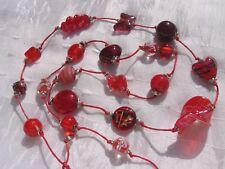 """Sautoir rouge perles bohème, indiennes, verre lampwork « Pomme d'amour"""""""