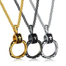 Christian Immortal Circle Chain Pendant Men Retro Stainless Steel Cross Necklace