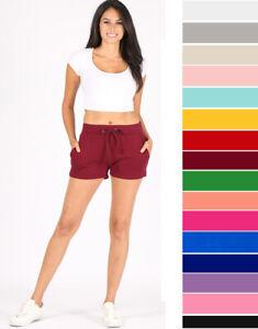 S M L Women's Premium Cotton Sweat Shorts Mid Rise Cozy Lounge Workout Casual