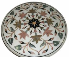 "24"" White Marble Coffee Semi Precious Stones Inlay Art Handmade Table Top"