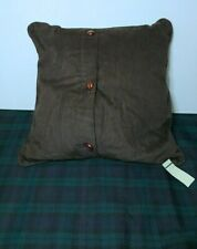 "Ralph Lauren Edmonton Brown Square Corduroy 16"" X16""  Throw Pillow"