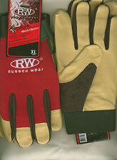 Rugged Wear Men Hi-Dexterity Red-Beige Grain Pigskin Leather Work/Drive Glove L