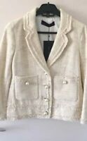 RARE ZARA BLAZER TWEED FRAYED ECRU IVORY CREAM PEARLS JACKET COAT - XS