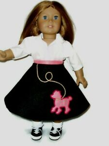 "4pc Poodle Skirt Outfit Fits American Girl Dolls 18"" Doll Clothes Black Hot Pink"