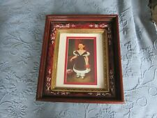 Antique Eastlake Victorian Deep Well Picture Frame & Print of Girl with Cherries