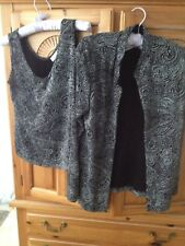 Womens 2 Piece Set Glittery Silver Black Jacket & Tank Top Size Medium Tradition