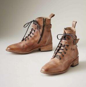 New BED STU | Women ERA Combat-Inspired TAN Leather Boots 7.5