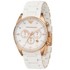 BRAND NEW Emporio Armani White Rose Gold Silicone Chronograph Mens Watch AR5919