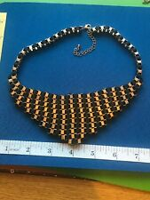 VINTAGE  JEWELLERY  GOLD AND BLACK TONE NECKLACE (12)