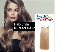 """Fits like a halo Hair Extension- Human Flip On crown wire 20""""- #18 Rose Gold bln"""