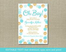Oh Boy Blue & Gold Glitter Dots Printable Baby Shower Invitation Editable PDF