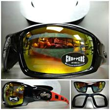 MOTORCYCLE RIDING DRIVING PADDED Choppers SUN GLASSES GOGGLES Black & Red Frame