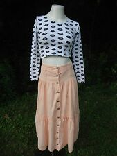 True Vtg '80s cotton long Hippie prairie peasant skirt crochet trim pale peach s