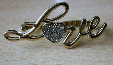 Gold Tone two / double finger love ring with diamante heart NEW