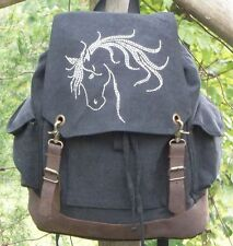 """Horse Rhinestudded 16"""" Leather Accent Heavy Canvas Backpack Bookbag"""