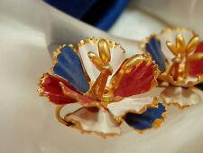 Great For The 4th! Vintage 1950's Red White & Blue Enamel Flower Earrings 2268je