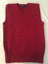 Ralph Lauren boy's red cable knit sweater vest, size 14/16