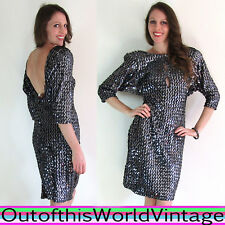 Vtg 80s SILVER SEQUIN BATWING DRESS Glittery Sparkly PLUNGING OPEN BACK SEXY M L