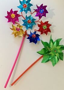 Holographic Windmill Bright Colourful Garden Home Set x 4
