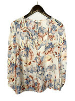 Joie Lennox Top in Porcelain 100% Silk Blouse Button Front V Neck Women's Size M