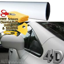 "72"" x 60"" Premium Gloss White Carbon Fiber 4D Vinyl Film Wrap Air Bubble Free"