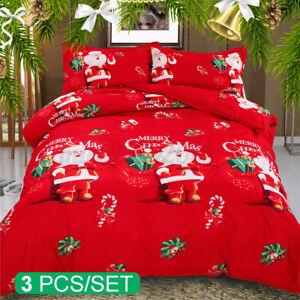 3D Duvet Cover Set Soft Printed Christmas Quilt Warm Winter Bedding Xmas Gift UK
