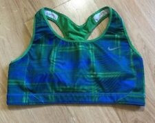 NIKE DRI FIT Sports Bra Womens Medium Blue And Green Plaid
