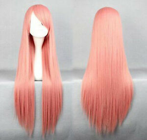 Hot Sell Fashion Long Pink Straight Cosplay Women Girl Hair Wig Wigs + Wig Cap