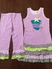 NWOT Naartjie Purple Stripe Fruity Dress & Capri Leggings Set 8 9