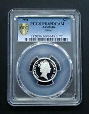 1991 Australia Silver Two $2 Dollar Proof Coin - Elizabeth II - PCGS PR69DCAM