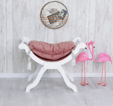 Stool Boudoir Seating Bench Sitting Gondola Pink Baroque White Ottoman